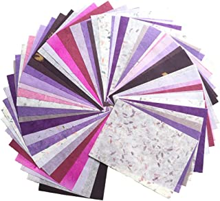 WADSUWAN SHOP 60 Sheets Mixed Purple A4 Mulberry Paper Sheet Design Craft Hand Made Art Tissue Japan Origami Washi Wholesale Bulk Sale Unryu Suppliers Thailand Products Card Making