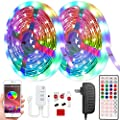 32.8ft LED Light Strips,Color Changing Tape Lights,Bluetooth led Strip Lights 5050rgb with 44 Keys Remote 16 Million Ambient Lightings for Bedroom Music Sync, TV Party,Living Room