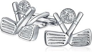 Bling Jewelry Golf Clubs Ball Caddy Golfer Sports Coach Cufflinks for Men Executive Shirt Cuff Links Bullet Hinge Back Sil...