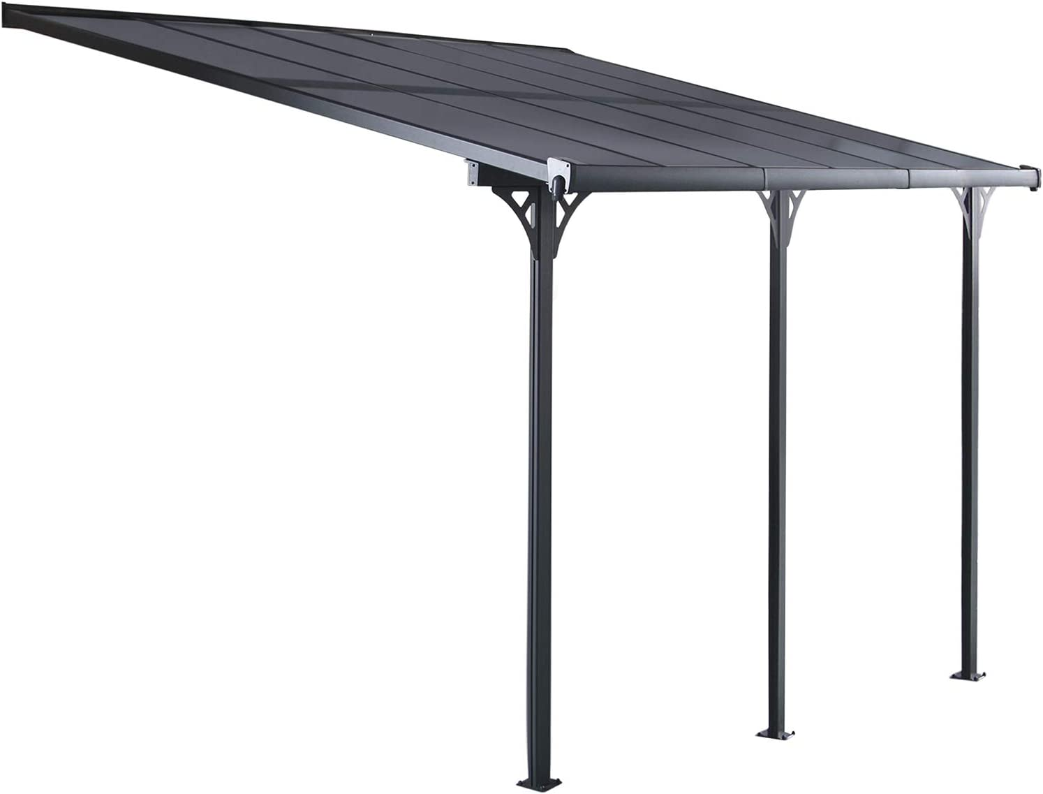 Gardiun KIS13015 - Pérgola de Pared Elliot - 15 m² 495x300x225/270 cm Aluminio y Policarbonato