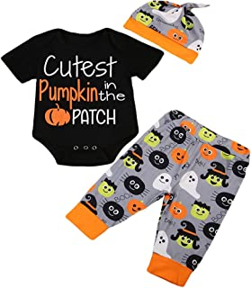 Baby Boys Girls Clothes Cutest Pumpkin in The Patch Bodysuits Pumpkin Witch Pants Hat Outfits 3pcs Set