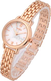 Top Plaza Womens Girls Bracelet Wrist Watch Fashion Simple Metal Band Marbled Roman Numerals Dial Analog Quartz Dress Watches Rose Gold Tone White Dial