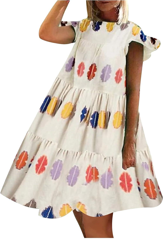 Summer 2021 new Womenâ€s Translated Short Sleeves Maxi Dress Crew Flowy Neck