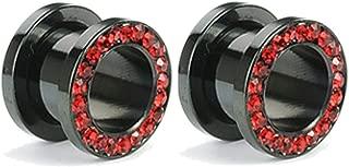 Pair of Black Titanium Red Gem Gauges Tunnels Steel Ear Plugs 10g - 1 Inch