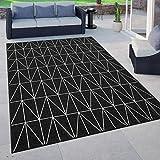Paco Home In- & Outdoor Teppich, Terrasse u. Balkon, Wetterfest Skandinavischer Stil, Grösse:80x150 cm, Farbe:Schwarz