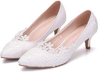 Women's Bridal Shoes,5 cm White elegant lace flowers Wedding shoes Women's Court Shoes,Business Evening Prom Club Wedding Party Dress Bridesmaid shoes,39 EU