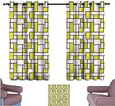 Mannwarehouse Geometric Soft Curtain Grid Design Pattern 70%-80% Light Shading, 2 Panels,63