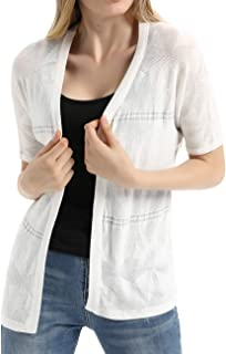 Women's Casual Summer Short Sleeve Sheer Open Front Cardigan Sweater