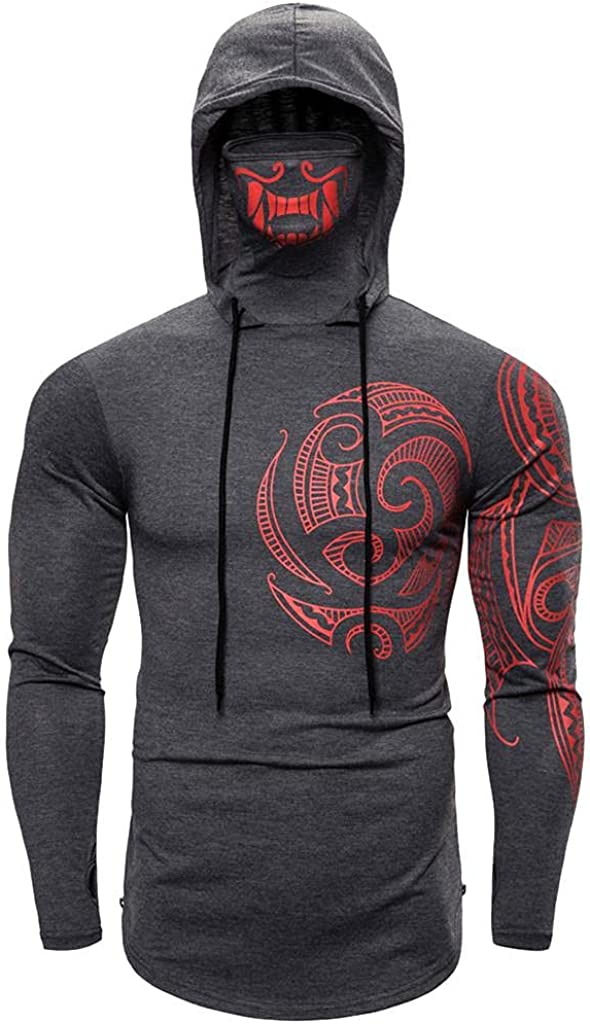 Men's Slim Long Sleeve Sweatshirts O Neck Pullover Fashion Thin Tops Lightweight T Shirt Mask Skull Print Tees Blouse