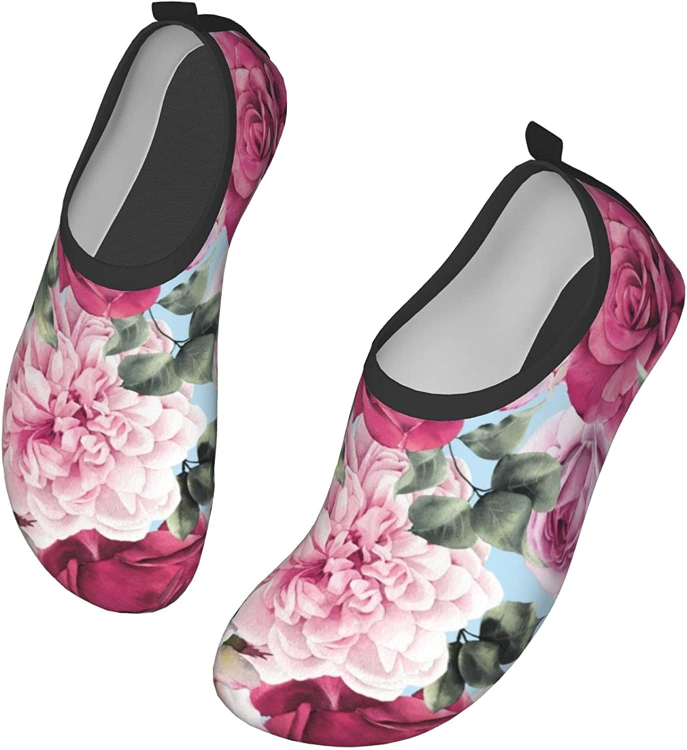 Floral with Roses, Watercolor Womens and Mens Water Shoes Barefoot Quick-Dry Aqua Socks Slip-On for Outdoor Beach Swim Yoga