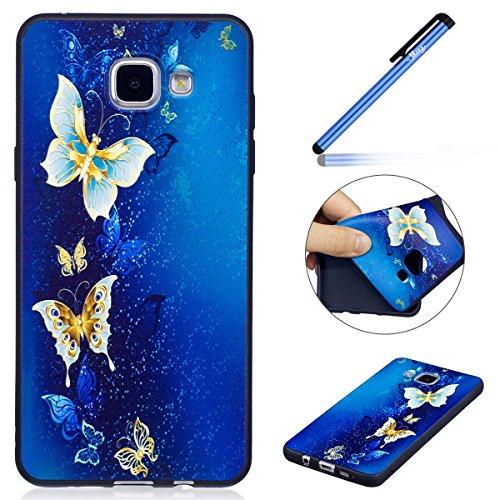 Ysimee Compatible avec Coque Samsung Galaxy A3 2016, Étui Silicone Noir avec Motifs Drôles Imprimé Flexible Gel Opaque Housse de Protection Antichoc TPU Bumper Mince et Léger Coque,Papillon Bleu