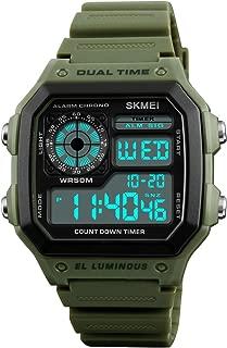 Mens Digital Dual Time Sport Watch with Alarm Stopwatch Luminous 1299