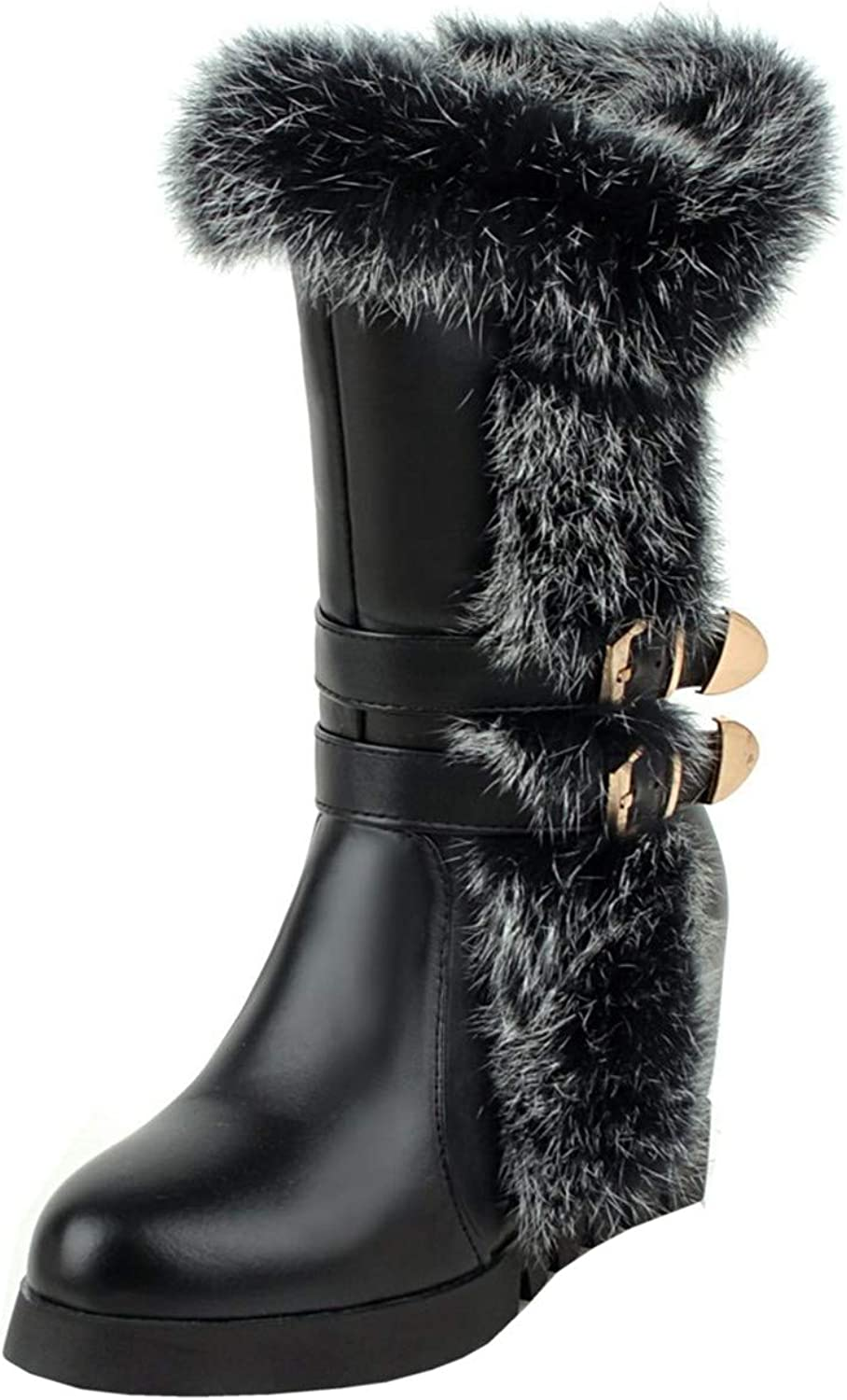 Rongzhi Womens Mid-Calf Boot Warm Fur Wedge Stap Buckle Round Toe Zip Snow Boots Black