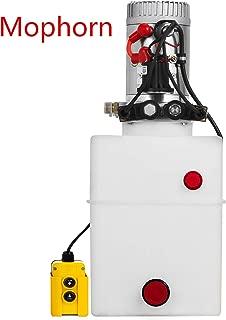Mophorn 12V Hydraulic Dump Double Acting Hydraulic Power Unit Hydraulic Pump for Dump Trailer Plastic Poly Reservoir(12VDC Double Action Power Unit, SAE #6 Ports, 3200 PSI, 20 Quart Reservoir)