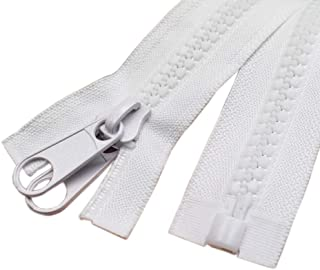 YaHoGa 2PCS #10 48 Inch Separating Large Plastic Zippers White with Double Pull Tab Slider Heavy Duty Zippers for Sewing, Sleeping Bag, Boat, Marine, Canvas, Cover, Dog Bed, Tent (48