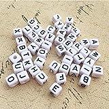 DAHI buchstabenperlen ca.1000stk - gemischte weiß perlen mit schwarz Buchstaben A-Z würfelperlen für Schmuck Basteln (Weiss buchstaben/6x6mm)