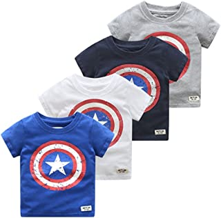 Summer Kids Boys Short Sleeve T Shirts Captain America Tops Tee Shirt