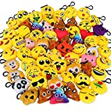 (64 Pack) - Dreampark Emoji Keychain Mini Cute Plush Pillows, Key chain Decorations, Kids Party Supplies Favours (64 Pack)