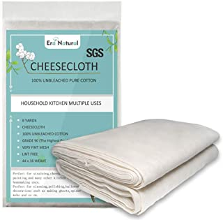 100% Unbleached Cotton Cheesecloth 4 Yards x 2 Pack, Ultra Fine Cheese Cloths for Straining, Grade 90 Cheese Cloth Weave F...