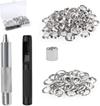 BUYGOO 100Pcs 10mm Grommet Kit for Tarpaulin, Fabric, Curtains and Craft Making, Tarpaulin Repair Kit with Punch Hole Tool and Fastened Tool (Come with a Plastic Box)
