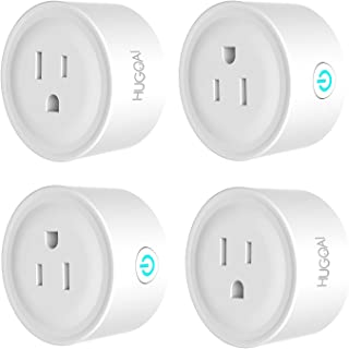 HUGOAI Smart Plug, WiFi Smart Outlet, Works with Alexa, Google Home & IFTTT, No Hub Required, ETL Listed, Remote Control Smart Home Devices, Smart Socket Only 2.4GHz WiFi (4 Pieces)