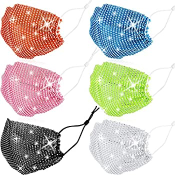 6 Pieces Rhinestone Mesh Mask Sequined Masks Crystal Colorful Masquerade Masks for Halloween Christmas Cosplay  Solid Color Series