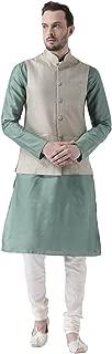 KISAH Men's Benarasi Cotton Silk Pista Green Nehru Jacket with Kurta and Churidar Set