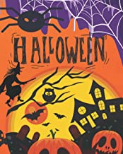 Halloween: 50 pages with halloween coloring: pumpkins, cats, bats, graves, spiders, witches and cauldrons