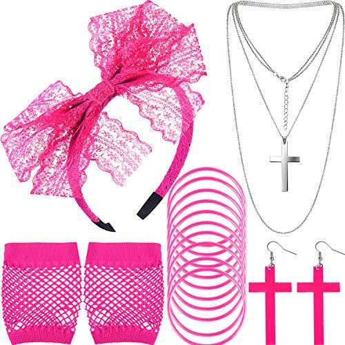 80s Costume Accessories Lace Headband Earrings Fishnet Gloves Necklace Bracelet (Rose Red)