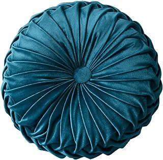 Blanchel Terciopelo calabaza plisada almohada redonda cojín