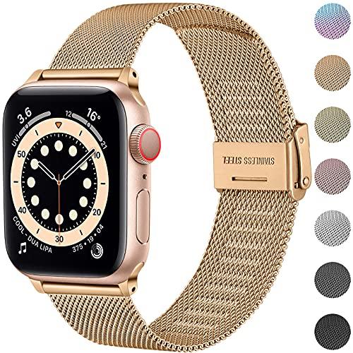 Upeak Compatible con Correa Apple Watch 38mm 40mm 42mm 44mm, Pulsera de Repuesto de Acero Inoxidable con Hebilla Ajustable Compatible con iwatch Series SE 6 5 4 3 2 1, 38mm/40mm-Oro Real