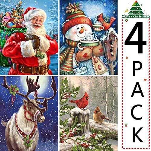 UPINS 4 Pack Christmas DIY 5D Diamond Art Painting Kits for Adults, Handmade Arts Craft Home Decor