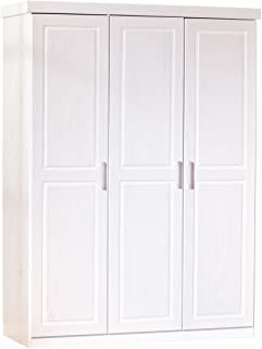 Inter Link Armoire penderie contemporaine à portes battantes Pin massif durable vernis blanc