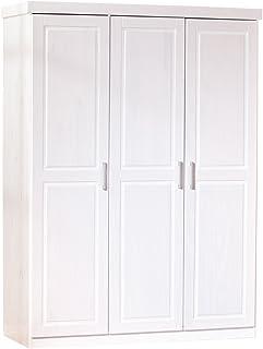 Inter Link Armoire penderie contemporaine à portes battantes Pin massif durable vernis blanc