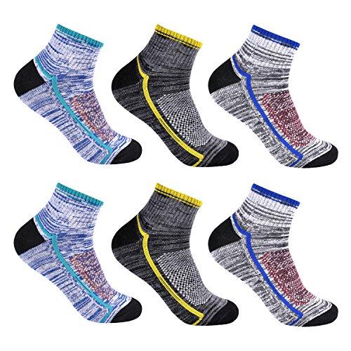 L&K 6 Paar Herren Thermo Sneaker Socken Baumwolle Sportsocken Dicke Gepolsterte-Sohle 3-Farben-Set 2104 39-42