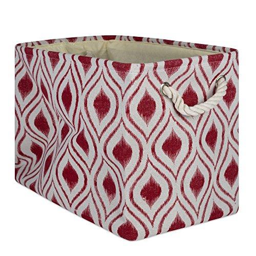 DII CAMZ10031 - Cestino portaoggetti pieghevole in poliestere con manici in cotone resistente, ideale per ufficio, camera da letto, armadio, giocattoli e lavanderia, grande, rosso granaio