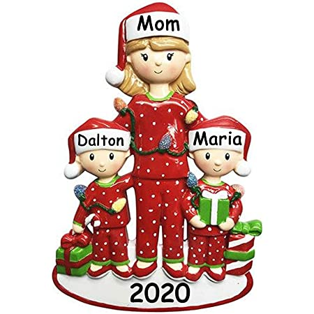 Amazon Com Personalized Single Mom With 3 Children Christmas Tree Ornament 2020 Cute Pjs Mother Hug Kid Cozy Santa Hat Home Holiday Foster Appreciate Engraved Tradition Day Year Gift Free Customization