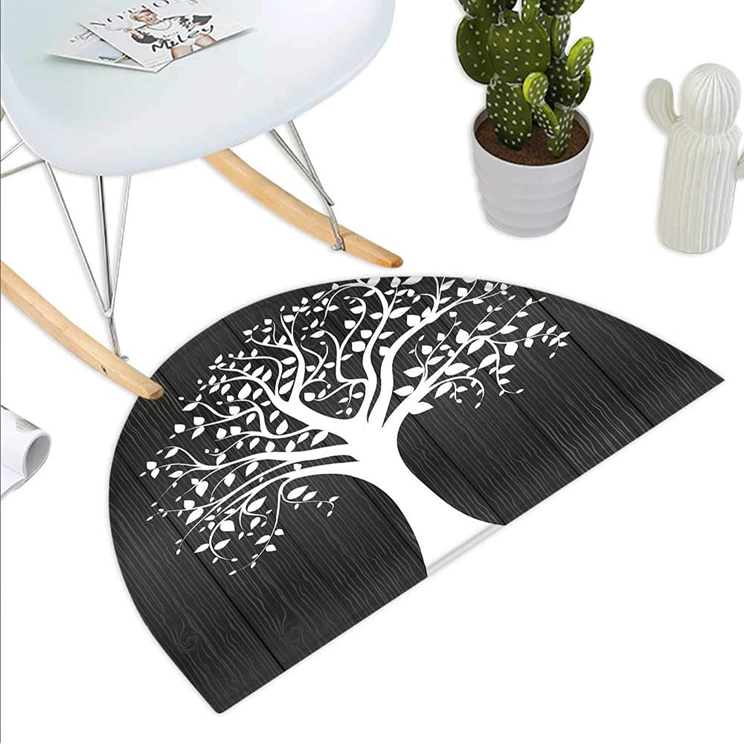 Rustic Semicircle Doormat A Tree with Many Leaves Pattern Wooden Background Botanical Theme Illustration Print Halfmoon doormats H 43.3  xD 64.9  White