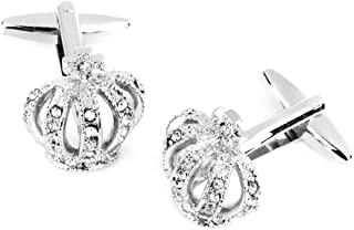 Generic Crown Rhinestone Dress Shirt Cuff Link For Wedding Office Gift 1 Pair Silver
