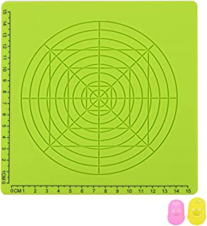 Yardwe 3D Printing Pen Silicone Mat Children Drawing Template Pad with 2 PCS Random Color Finger Covers - Type D (Green)