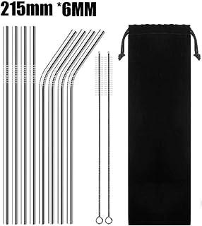Drinking Straw Stainless Steel Metal 8 Pcs Reusable Cleaner Brush 20 30 oz (20 OZ)