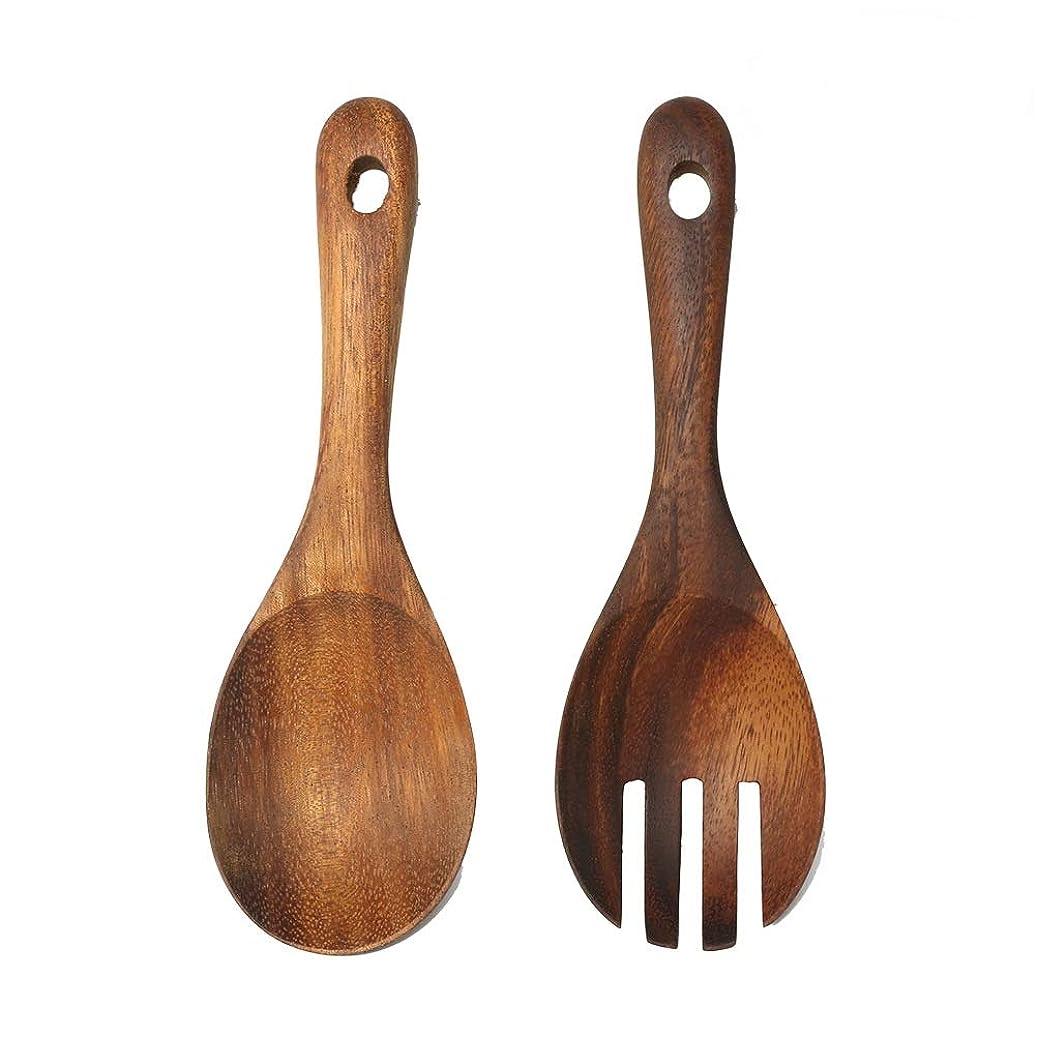 マークされた書き込み喜びWINOMO 木製スプーン サラダサーバー サラダスプーン フォーク ウッドカトラリー 2本セット