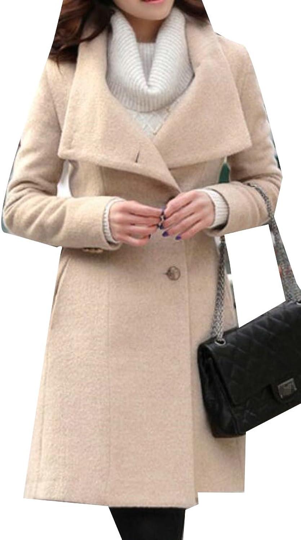Sweatwater Womens Slim WoolBlend SingleBreasted Winter Pea Coats Jackets