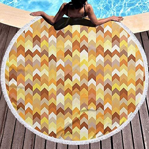 Jiahong Pan Circle Beach Towel Chevron Abstract Image with Geometric Arrows Artwork Marigold Yellow and Light Brown Round Beach 59 Inch Diameter