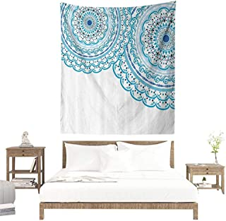 alisoso Tapestries for Sale,Mandala Decor,Wedding Invitation Card Theme Lace Mandala and Place for Text Print,Sky Blue Light Blue W55 x L55 inch Wall Decoration Tapestry Beach Mat