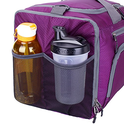 Venture Pal 20 Packable Sports Gym Bag with Wet Pocket & Shoes Compartment Travel Duffel Bag for Men and Women-Purple