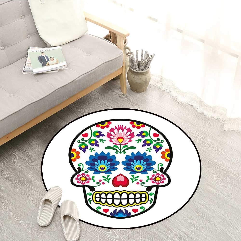 Sugar Skull Decor Kids Rugs Polish Folk Art Style Mexican Sugar Skull Design Ethnic Carnival Theme Sofa Coffee Table Mat 4'11  Multicolor
