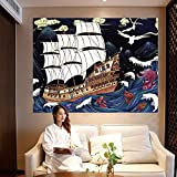 Puesta de Sol Gran Ola Tapiz de Ballenas Tapiz de Arte japonés Ukiyo-eFondo de Tela Colgante Tela Yoga Picnic Mat