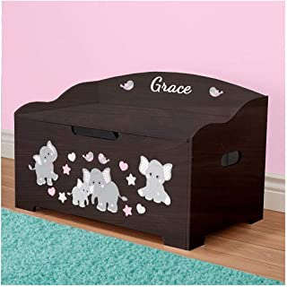 DIBSIES Personalization Station Personalized Dibsies Modern Expressions Toy Box (Espresso with Pink Elephants)