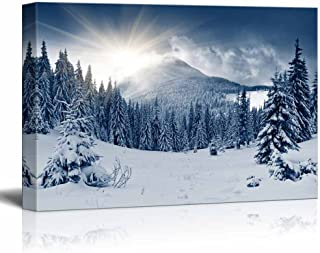 wall26 - Winter Mountain Snow Covered Trees - Canvas Art Wall Decor - 16